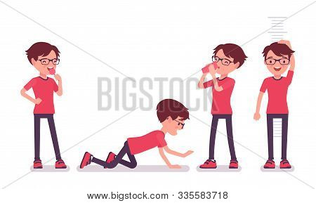 School Boy In Casual Wear Enjoying Fun. Cute Small Guy In Glasses After Lessons, Active Young Kid, S