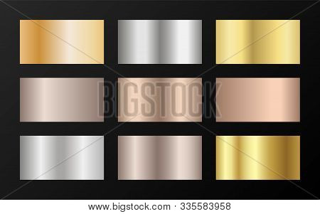 Gold, Silver And Bronze Gradients Vector Mega Set. Metallic Gold, Silver, Steel, Chrome, Copper, Bro