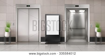Office Hallway With Lcd Screen Floor Stand, Open And Closed Elevator Doors. Vector Realistic Empty L