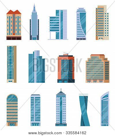 Flat Skyscrapers. Modern City Tall Buildings. Residential And Office Houses Exterior. Apartment Bloc