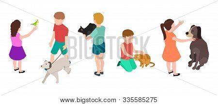 Kids And Pets. Pet Care Concept. Isometric Children And Dogs, Parrot, Cats Vector Set. Illustration