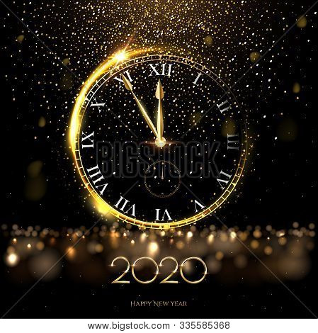 Golden 2020 Number With Big Watch Vector Illustration. Happy New Year Banner Template. Festive Postc