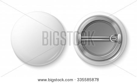Button Pin Badge. White Blank Badge Mockup. Realistic Vector 3d Pin Button. Illustration Pin Button