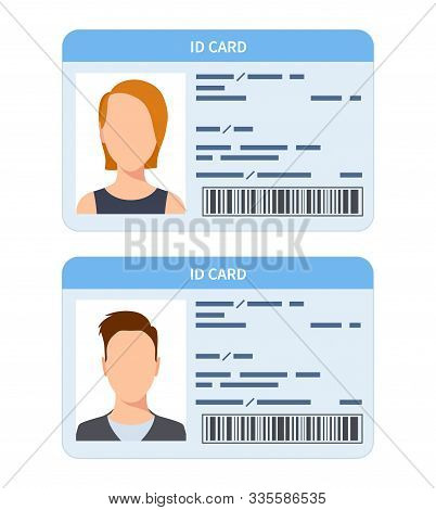 Id Card. Women And Men Plastic Identification Cards, Driver International License. Verify Corporate