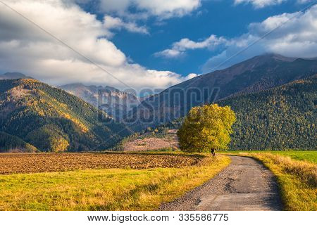 Landscape With A Road Leading To The Mountains In The Morning Light At Autumn. The Area Of Liptov Wi