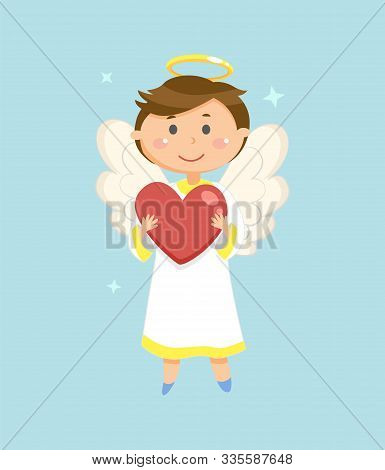 Cupid With Heart, Valentines Day Symbol, Angel Boy Vector. Halo And Wings, Love Holiday Celebration,