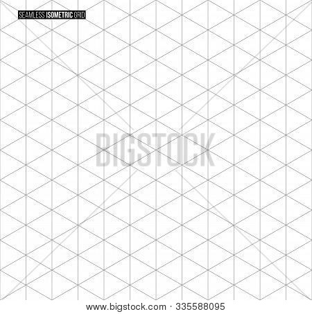 Abstract Isometric Grid Vector Seamless Pattern. Black And White Thin Line Triangles Texture. Monoch