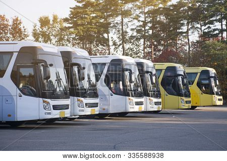 New Bus Fleet Is Parking At The Parking Yard For Service Passengers.