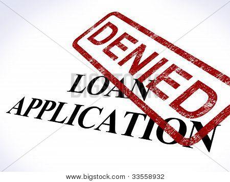 Loan Application Denied Stamp Shows Credit Rejected