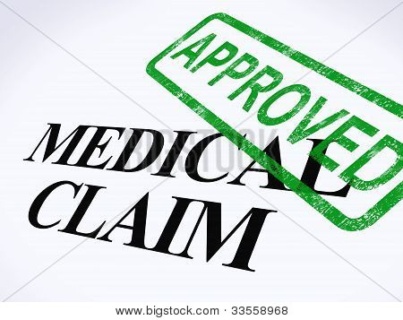 Medical Claim Approved Stamp Shows Successful Medical Reimbursement