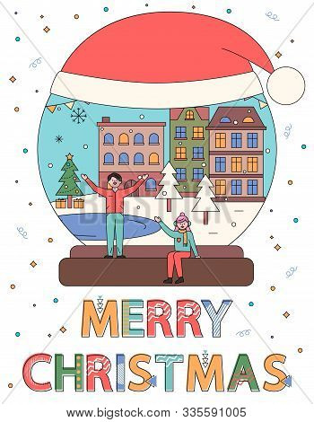 Winter City In Glass Snowball With Snow, Santa Hat With Snowing Weather Vector. Merry Christmas Cele