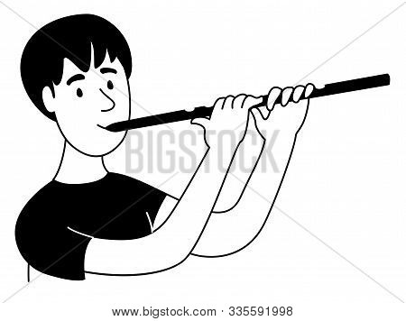 Music Lessons Flute Player Flutist Student Line Icon Clipart Doodles
