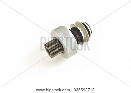 Car Starter Drive, Bendix, Car Starter Detail, White Background Isolate Close-up