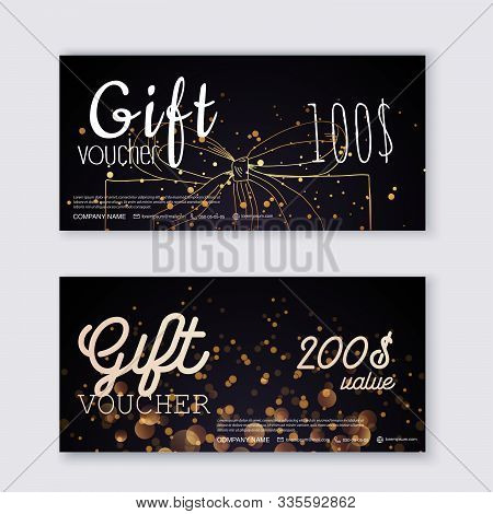 Voucher Template With Color Gift Box,certificate. Background Design Coupon, Invitation, Currency. Ve