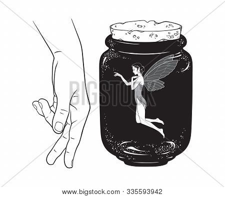 Beautiful Girl Fairy Pixie In Jar Line Art Isolated. Boho Chic Tattoo, Sticker Or Print Design Vecto