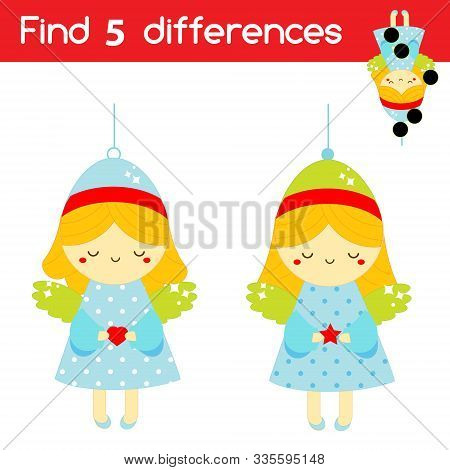 Christmas Angel. Find The Differences Educational Children Game. Kids Activity Fun Page. New Year Th