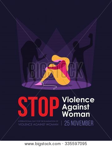 International Day For The Elimination Of Violence Against Woman Banner - Shadow Man Attacked A Woman