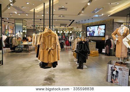 SHENZHEN, CHINA - CIRCA NOVEMBER, 2019: clothing on display at Vero Moda store in Wongtee Plaza shopping mall in Shenzhen
