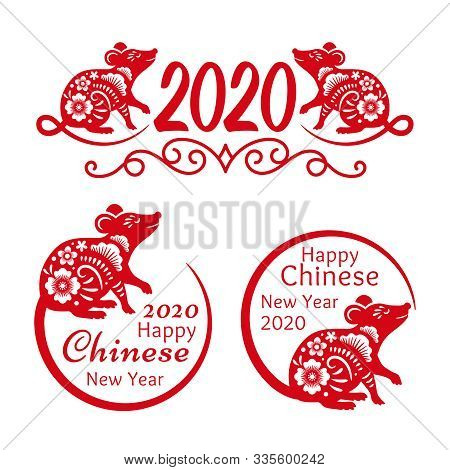 Rat New Year 2020 Signs. Traditional Chinese New Year 2020 Mascot Funny Red Rat Symbols Isolated On