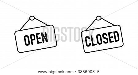 Open And Closed Sign Boards With A Rope. Open Or Closed Sign Board, Isolated On White Background. Op