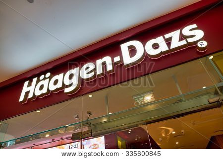 SHENZHEN, CHINA - CIRCA NOVEMBER, 2019: Haagen-Dazs sign seen at Wongtee Plaza shopping mall in Shenzhen