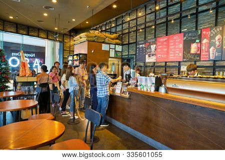 SHENZHEN, CHINA - CIRCA NOVEMBER, 2019: interior shot of Starbucks at Wongtee Plaza shopping mall in Shenzhen