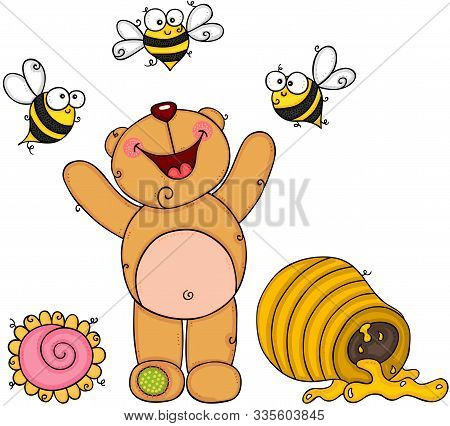 Scalable Vectorial Representing A Teddy Bear Happy On Garden With Bees And Honey, Element For Design
