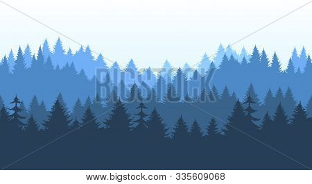Pines Forest Panorama Pattern. Pine And Spruce Outdoor Horizon Banner Repeating Background, Vector C
