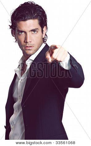 Handsome Man Pointing Finger At Camera