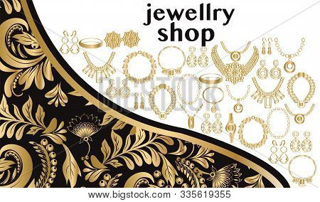 Vector Beautiful Fashionable Jewellry And Accessories Collection On Floral Swirl Decorative Style Go