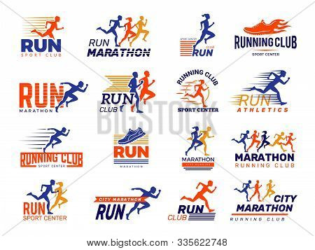 Sport Logo. Healthy Running Marathon Athletes Sprinting Badges Vector Collection Isolated. Illustrat