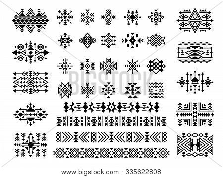 Ethnic Elements. African Native Aztec Art Tattoo Dividers Tribal Triangle Decoration Shapes Vector P