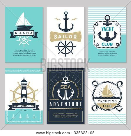 Nautical Cards. Marine Vintage Logotypes Sea Rope Knot Anchor Ship Ocean Decorative Symbols For Labe