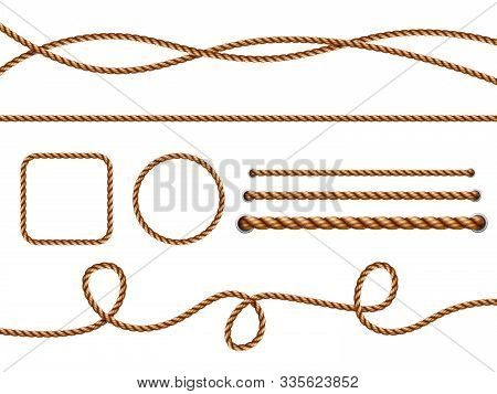 Realistic Ropes. Yellow Or Brown Curved Nautical Ropes With Knots Vector Template. Rope Curve, Bound