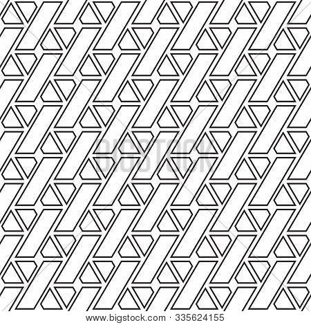 Seamless Geometric, Geo, Pattern, Seamless Trellis Pattern, Black And White Vector Linear Background