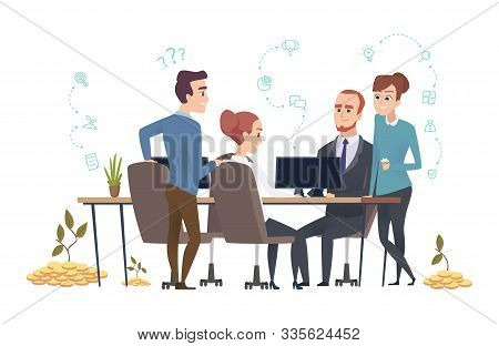 Effective Business Team. People Group Create A Startup. Investors Are Discussing The Project Vector