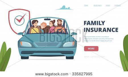 Family Insurance Landing Page. Insurance Banner With Happy Family In Car. Cartoon Parents With Kids