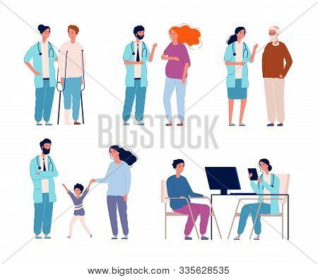 Hospital Patients. Doctors Consulting Dialog With Patients Healthcare Groups In Clinic Vector Treatm