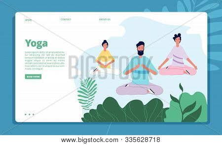 Meditation Landing. Characters Relax Pose Nature Outdoor Meditation Healthcare Fitness Vector Backgr