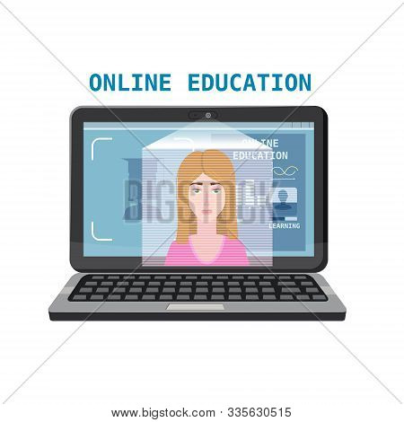 Online Education Training Coaching, Workshops And Courses. E-learning Page With Notebook And Mentor