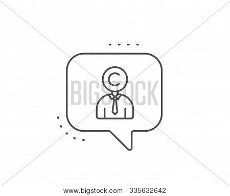 Copyrighter Line Icon. Chat Bubble Design. Writer Person Sign. Copywriting Symbol. Outline Concept.
