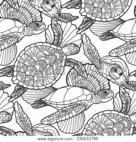 Seamless Pattern Of Graphic Swimming Turtles In Black And White Colors.