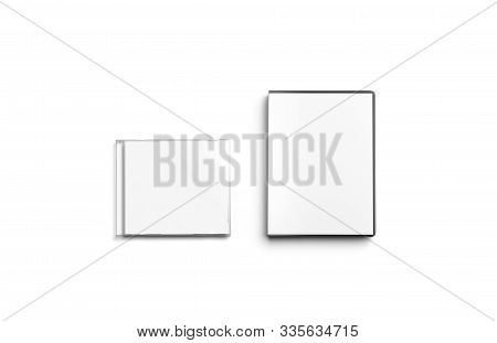 Blank White Cd And Dvd Disk Box Mockup Set, Top View, 3d Rendering. Empty Program Or Music Compact D