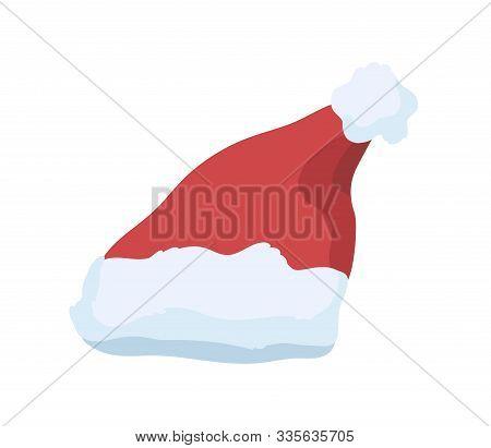 Santa Claus Hat Vector Illustration. Festive Christmas Celebration Costume Element. Red Plush Hat Wi