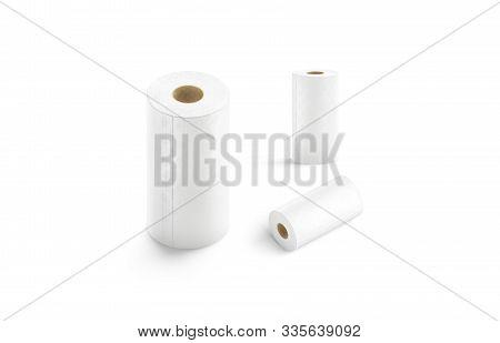 Blank White Paper Towel Mockup Set, Different Views, 3d Rendering. Empty Fiber Porous Sponge Mock Up