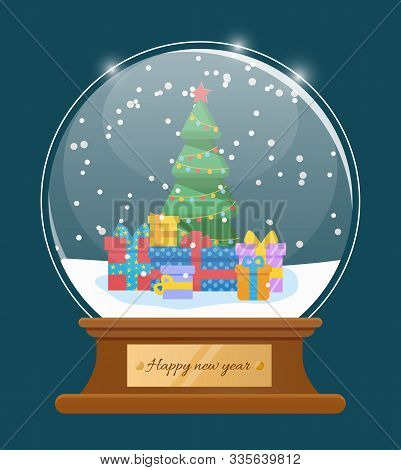Greeting Card Happy New Year With Glossy Snowball. Snowflakes On Fir-tree And Present Box In Glass B