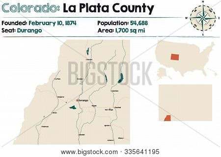 Large And Detailed Map Of La Plata County In Colorado, Usa.