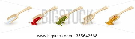 Set Of Wooden Scoops With Red, Green, Yellow Spices, Seasonings Indian Mixture With Anis Stars, Sesa