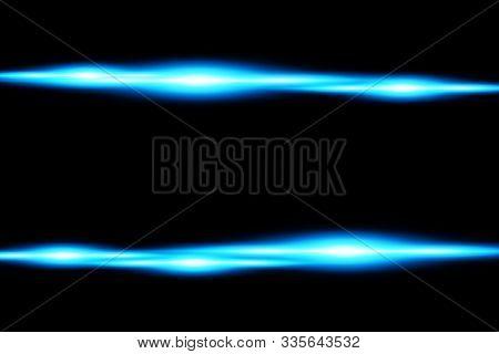 Blue Horizontal Lens Flares Pack. Laser Beams, Horizontal Light Rays. Beautiful Light Flares. Glowin