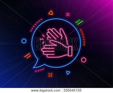 Clapping Hands Line Icon. Neon Laser Lights. Clap Sign. Victory Gesture Symbol. Glow Laser Speech Bu
